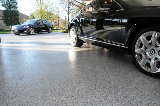 home garage with epoxy floor coating with flecks